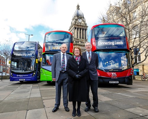 (left to right) Chair of West Yorkshire Combined Authority transport committee Cllr Keith Wakefield, Leader of Leeds City Council Cllr Judith Blake and Leeds City Council executive member for regeneration, transport and planning Cllr Richard Lewis in front of the latest buses for Leeds operated by Arriva, First and Transdev on Victoria Gardens