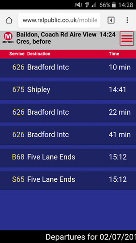Departures for a scanned bus stop