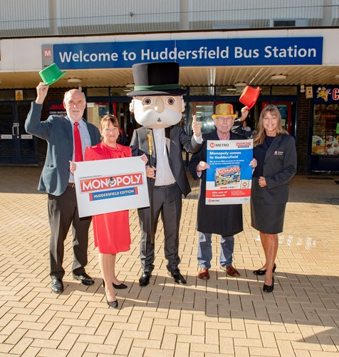 Cllr Eric Firth, Cllr Kim Groves, Mr Monopoly, Cllr Peter McBride & Helen Schofield